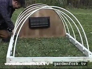 attach the plywood to one end of cold frame