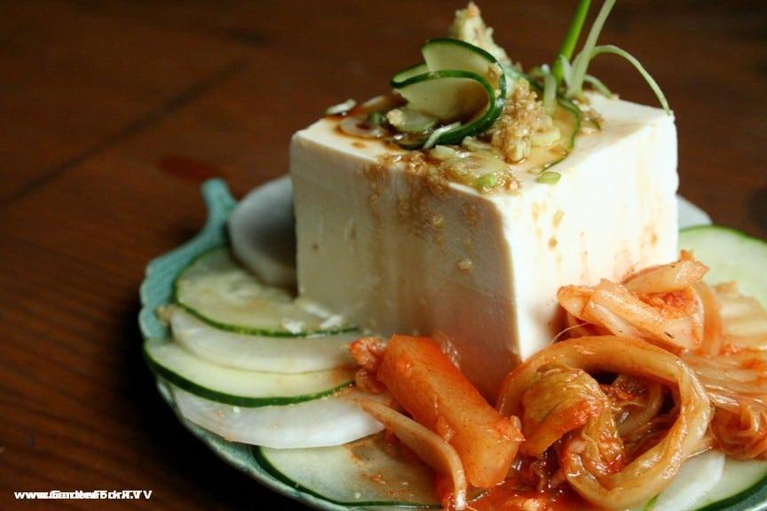 Kimchi with fresh tofu