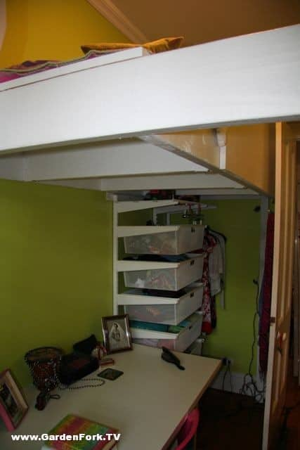 ... the bed you could also buy a wooden step ladder to get to the loft bed