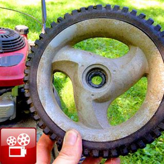 Broken lawn mower wheel repair