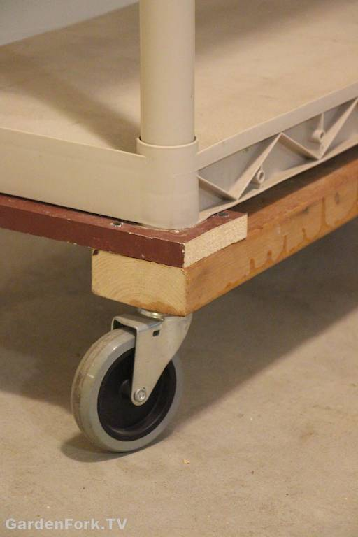 storage shelf with wheels attached