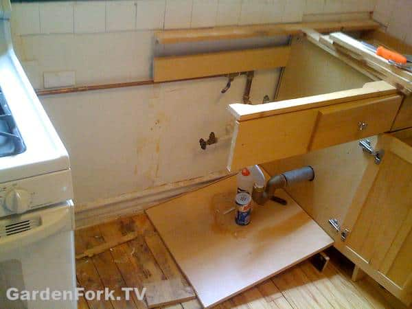 Kitchen sink removed from cabinets