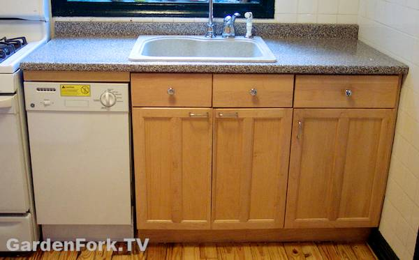 kitchen counter with dishwasher