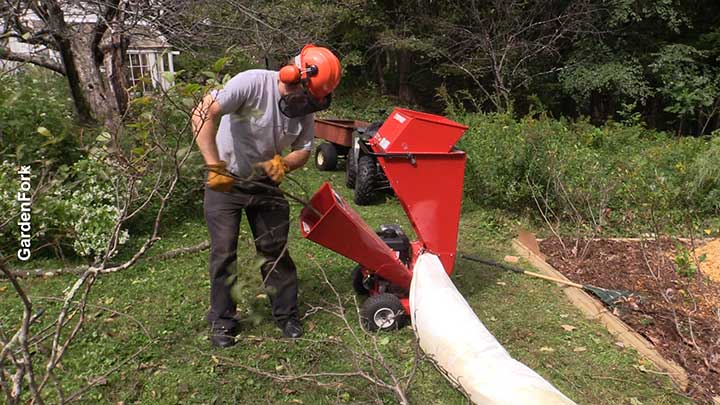 chipping tree limbs with woodchip machine