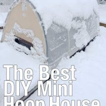 DIY mini hoop house in snow