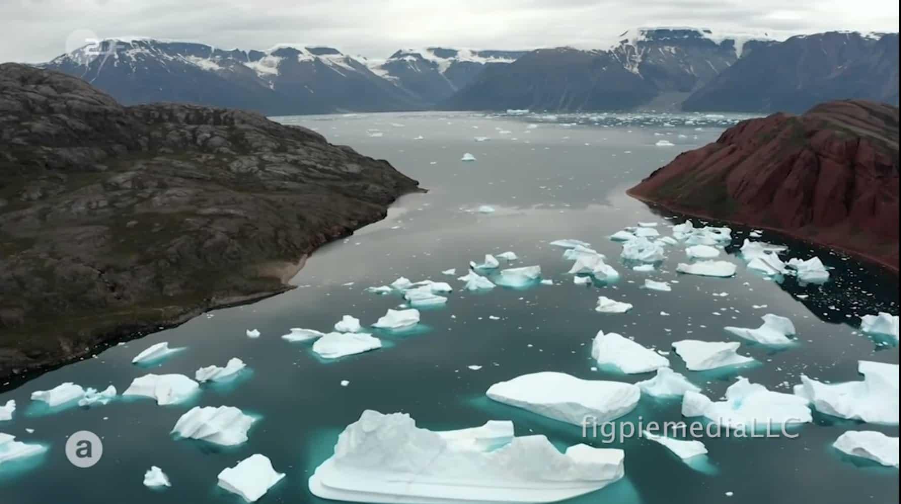 artic ocean with icebergs